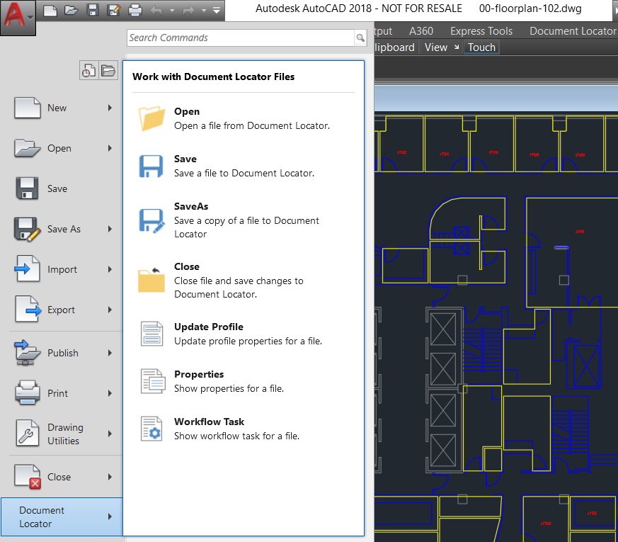 AutoCAD project file management screenshot