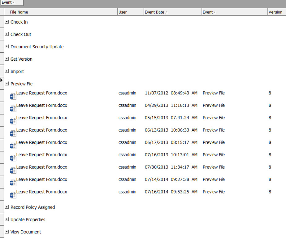 audit logging screenshot