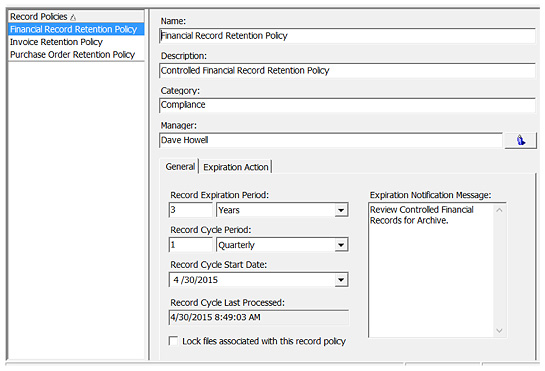 Records Policy Manager Features  Document Locator