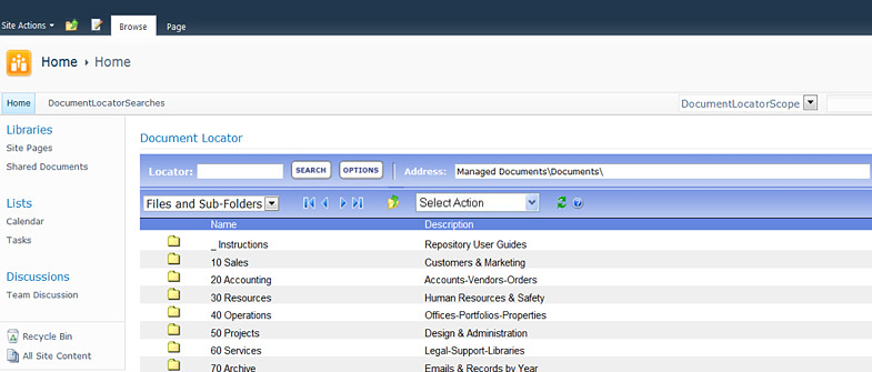 SharePoint document management screenshot