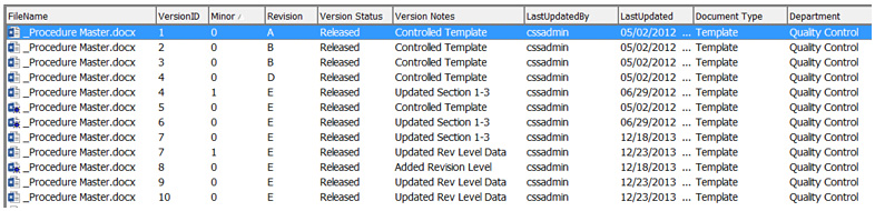 document version control screenshot